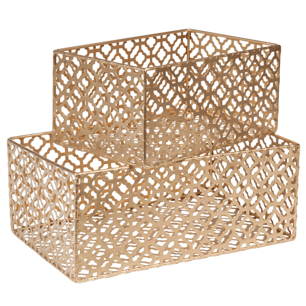 2 baskets in gilded metal