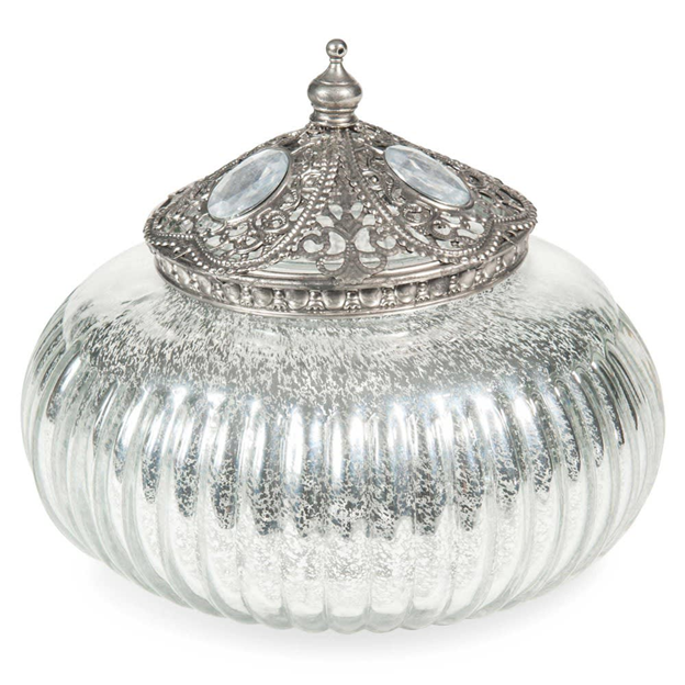 ELANOOR Silver-colored round glass box