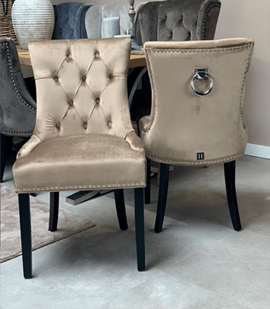 Dining room chair Herman beige with black wooden legs, velvet fabric with deep buttons
