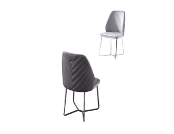 Gray chair with metal silver legs