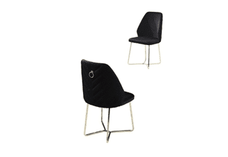 Black chair with metal gold legs