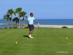 Golfer on the green of Quinta da Ria