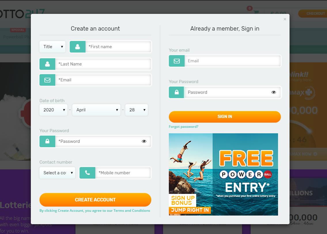 Create account on Lotto247