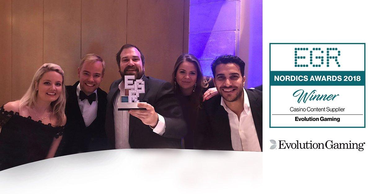 Evolution vinnare av Casino Content Supplier of the Year på EGR Nordics Awards 2018