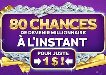 80 tours casino pour un dépôt de 1 C$
