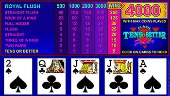 Vidéo poker Tens or Better