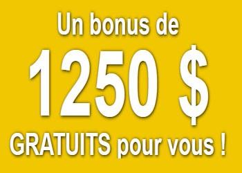 1250 C$ de bonus de bienvenue en 5 étapes