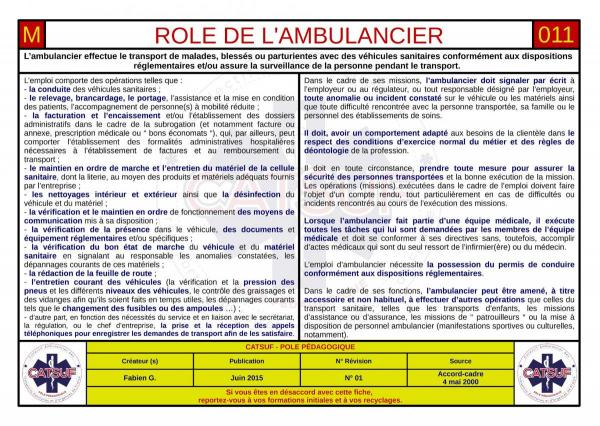 Rôle de l'ambulancier