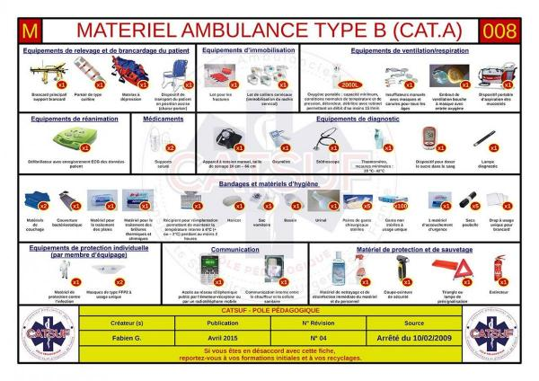 Matériel ambulance Type B (Cat. A)
