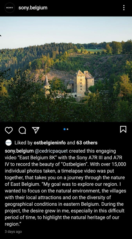 Timelapse Video East Belgium Ostebelgien 8K Sony Belgium publication Instagram
