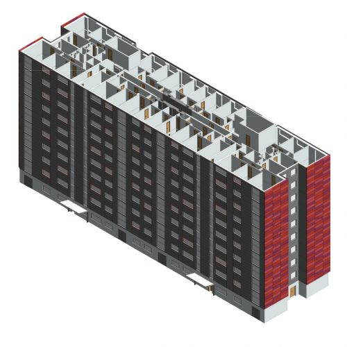 This is a Revit model that I created from scratch based on several 2d floorplans in AutoCAD.