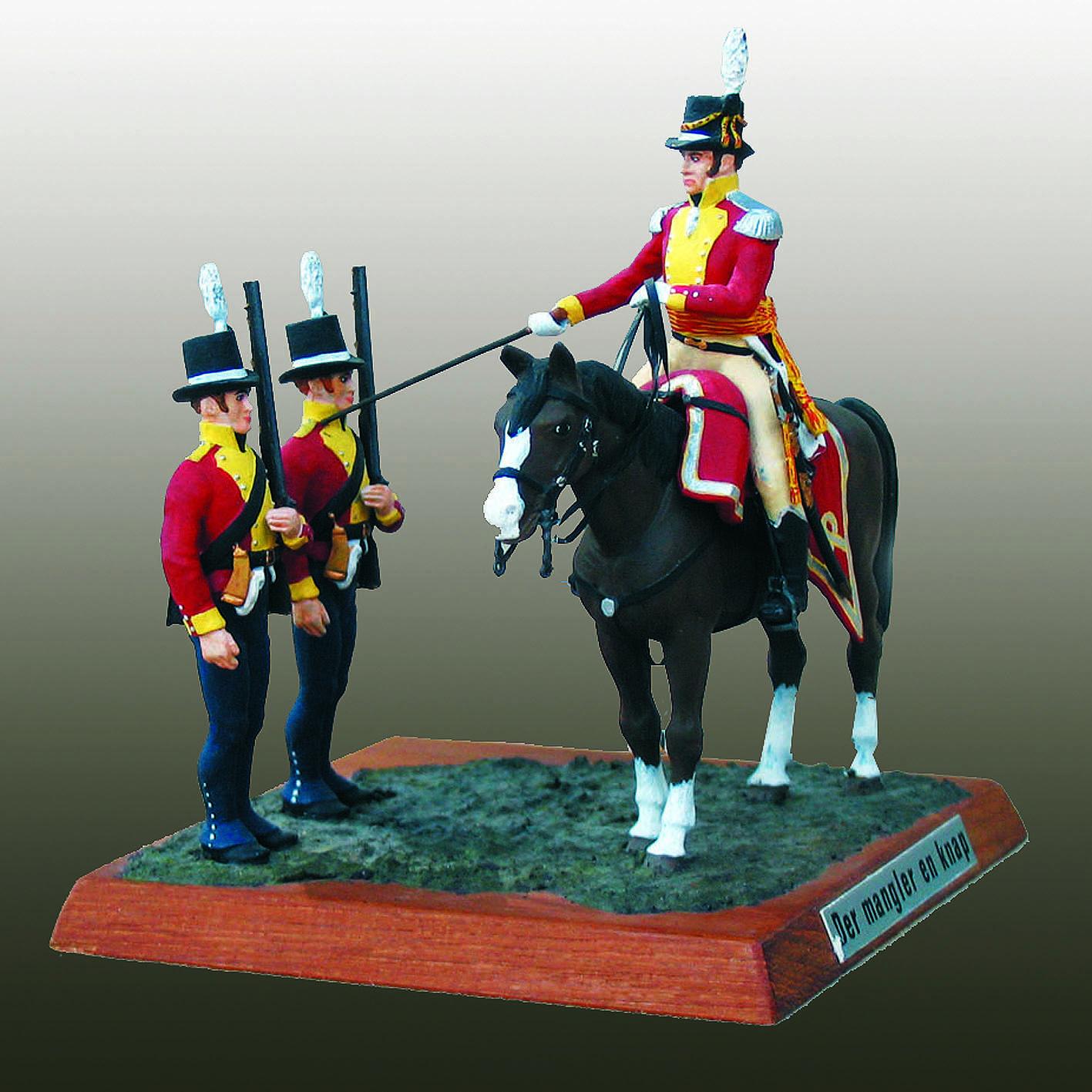 Danmark 1807, Danske Livregiment til Fods. Der mangler en knap blandt to regimentsjægere