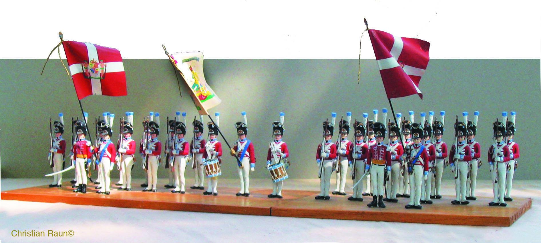 Danmark 1807, Den Kongl. Livgarde til Fods med den broderede hvide gallafaner og to vagtfaner