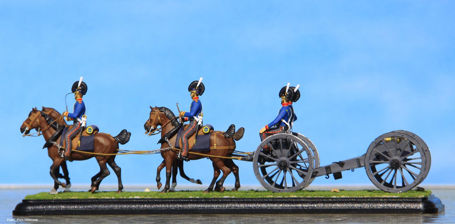 1811-Storbritannien-Royal-Horse-Artillery-forspændt-haubitser-under-løjtnant-Steele-på-Anholt