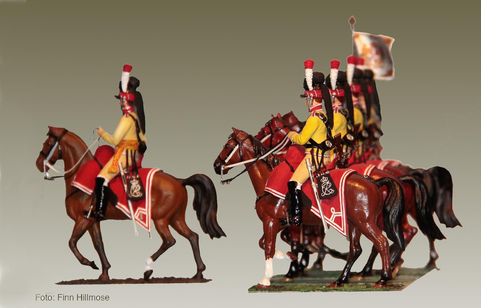 1813-Danmark-Den-Kongl.-Livgarde-til-Hest-officer-estandart-og-gardere
