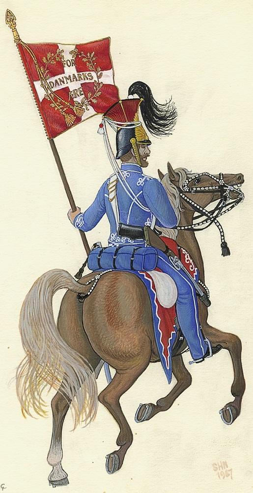 DK-1848-Den-frivillige-husareskadron-korporal-med-estandart-1848-1967