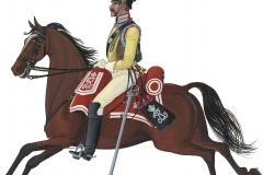 Den Kongelige Livgarde til Hest, menig 1848. Den Kongelige Livgarde til Hest eksisterede fra 1661 til 1866.