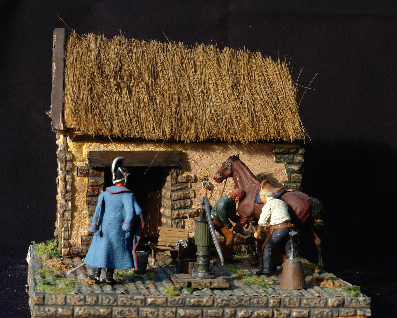 1864-En-Dansk-Dragon-officer-får-skoet-sin-hest