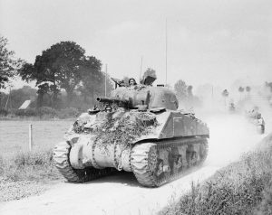 Sherman tanks advancing towards Vire Normandy 2 August 1944