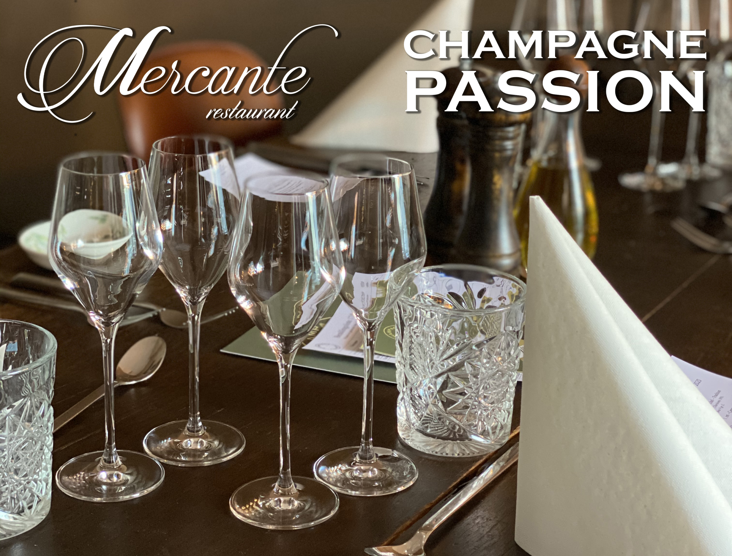 champagnemiddag, restaurant mercante, champagne passion