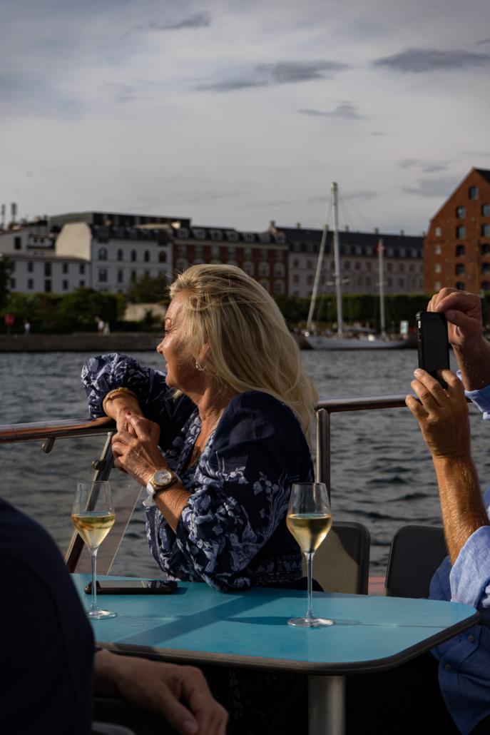 kvinde, champagne, hav, cruise
