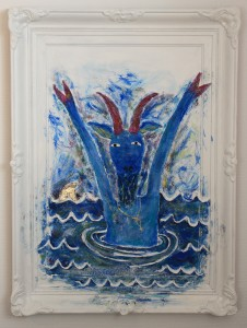"""""""Oh NO, A drowning goat!"""" 97x73 cm."""