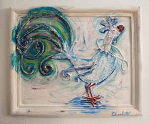 """Coq Bleu"" 59x49cm. A vain rooster with a pearl necklaces."