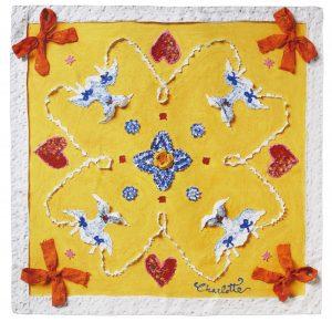 Charlotte_Olsson_Art_Konst_pocketsquare_näsduk_siden_silk_design_mönster_yellow_sunny_flirt