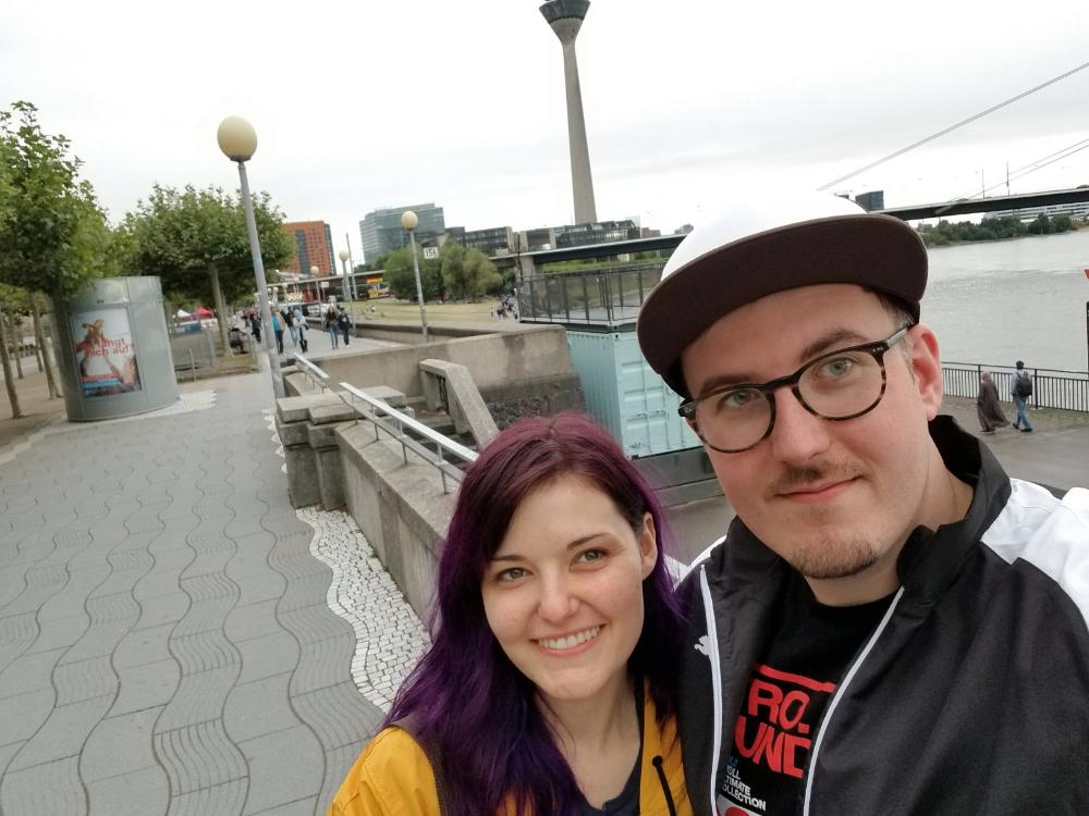 Schotti introducing me to the Rhine Promenade in Dusseldorf