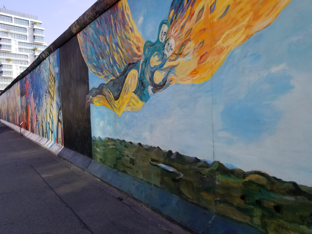 One of 105 murals restored since the Berlin Wall's fall in 1990