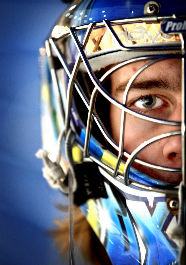 Portrait of hockey goal keeper Axel Brage who plays for the Swedish national league.