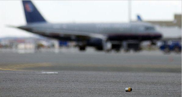 Debris on a runway.