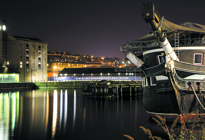 HMS Unicorn at night