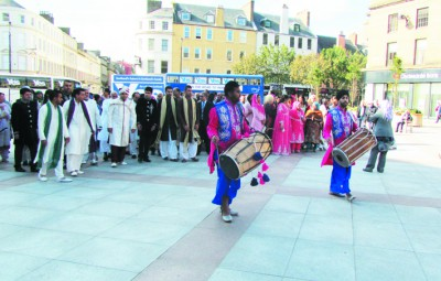 Sikh wedding party in Dundee city centre