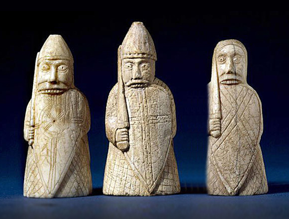 Berserkers, 'the scaldingi', from the Lewis chessmen