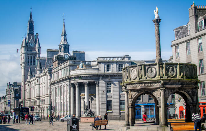 Castlegate Square and Mercat Cross in Aberdeen