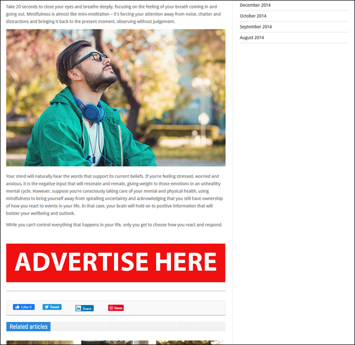 Online advertising PC position 2