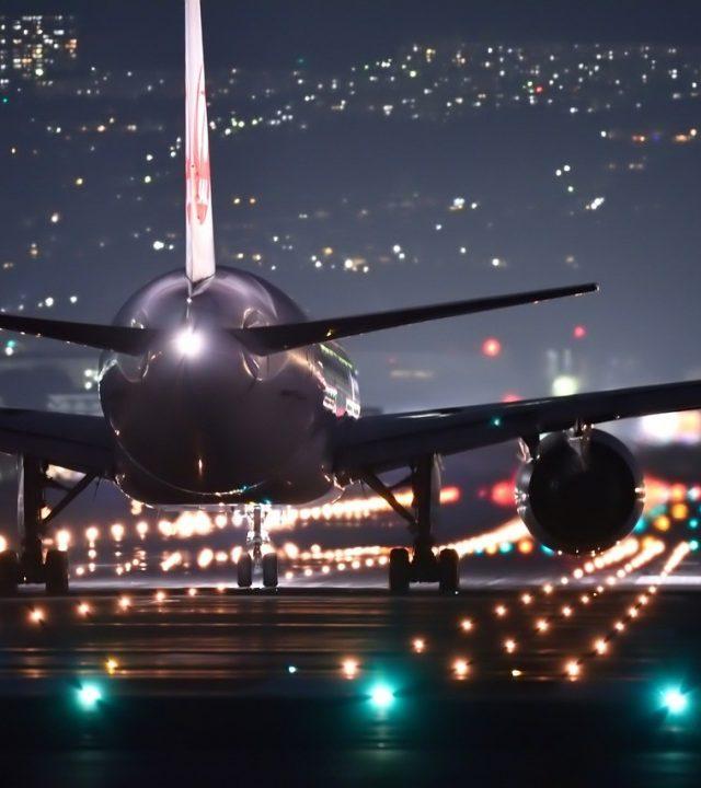 night flight, plane, airport