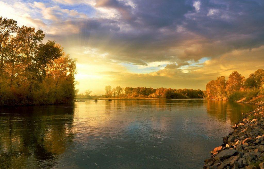 river, autumn, trees