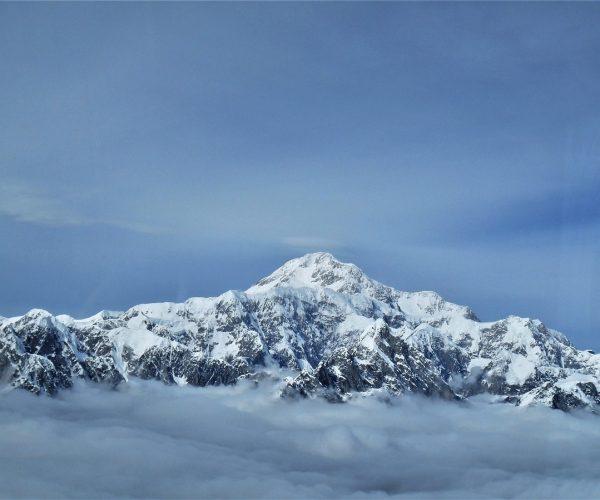 summit, snow, clouds