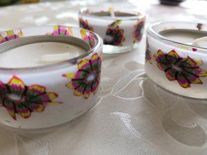 Fimo Teelichter, Cane Blume transpartent, Modelliermasse