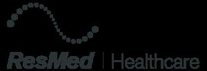 Logo von ResMed Healthcare in dunklem Grau