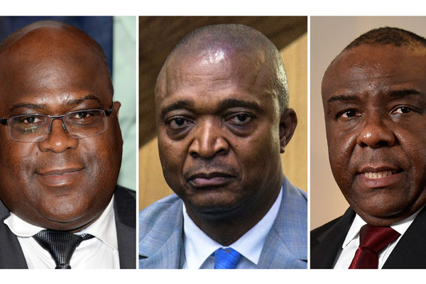 This combination of file pictures made on August 8, 2018, shows (L-R) leader of the Union for Democracy and Social Progress (UPDS) opposition party Felix Tshisekedi i, former interior minister Emmanuel Ramazani Shadary (R) and Democratic Republic of Congo former vice-president Jean-Pierre Bemba. AFP PHOTO