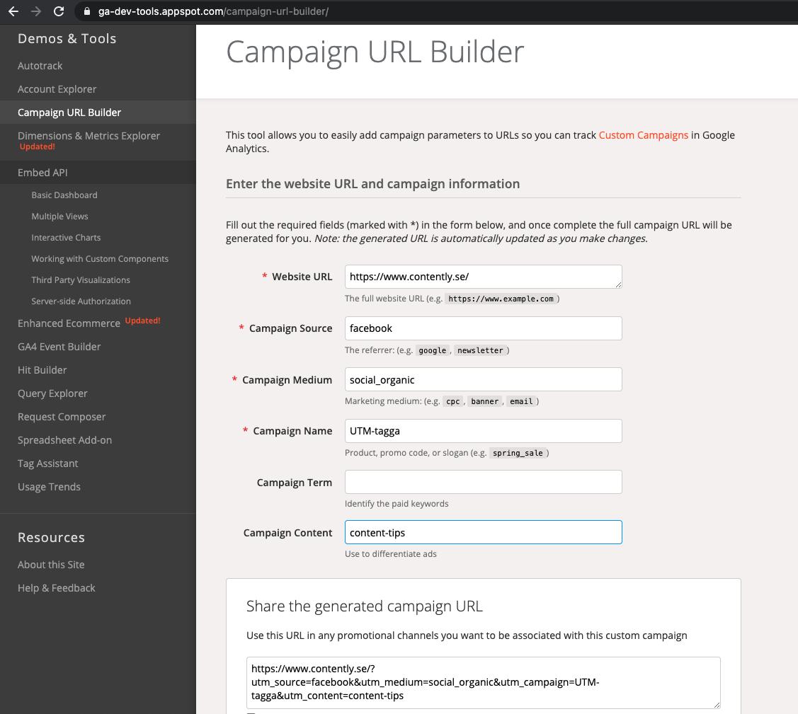 UTM-tagga med hjälp av Google Campaign URL Builder