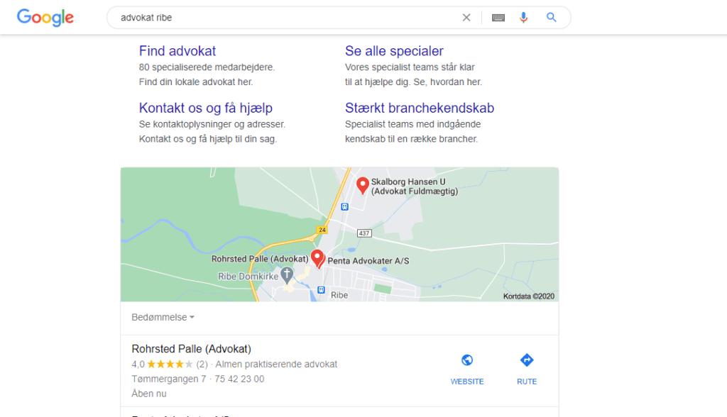 Billedet viser, hvordan Google My Business virker i forhold til markedsføring for advokater.