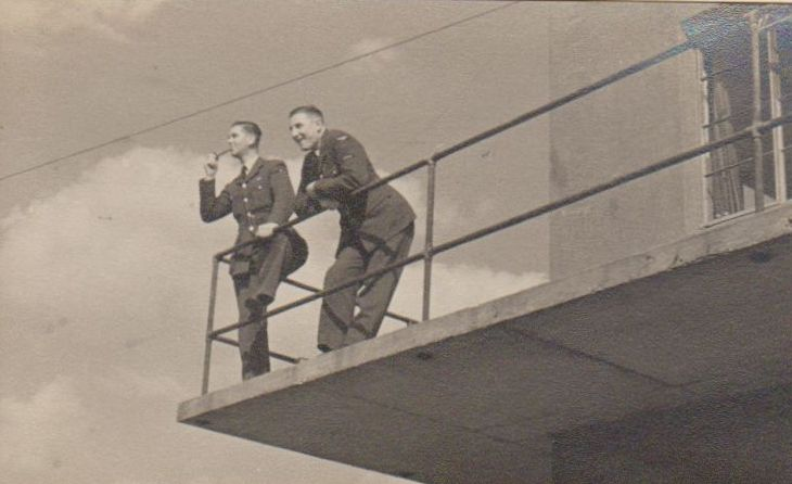 FO Faulkner & LAC Harrison on duty at The Control Tower RAF North Creake