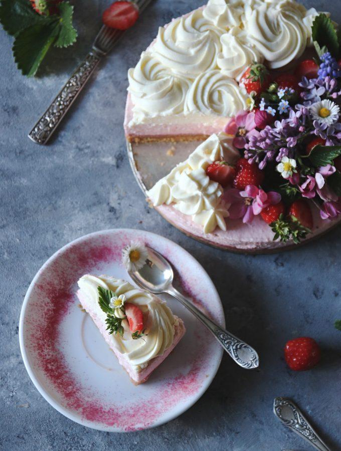 no-bake jordgubbscheesecake