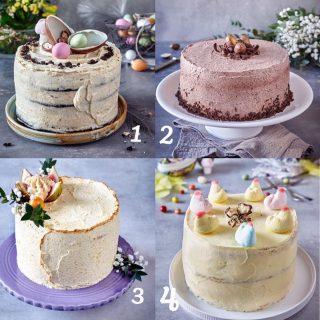 Om du fick välja din absolut favorit i påsk vilken skulle bli? Kommentera med en siffra.  Svep höger för att se insidan på varje tårta. 1. Chokladtårta med brynt smörkräm. 2. Vaniljtårta med chokladkräm. 3. Mangotårta. 4. Påsktårta med överraskning. Dessa bakade jag och stylade för @tidningenhembakat  förra året. 📸 @thomashjerten .