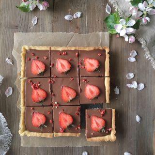 Orkar ni med mer jordgubbar efter midsommar eller ska man byta? Då ska ni följa @simonamuntean_  för mer blir det👏🏻👏🏻😅  Denna chokladcheesecakepaj går inte att ignorera, inte dessa rejäla bitar. Jag får väl offra mig nu😂🤷🏻♀️.  Recept via länken i min profil 👉🏻 @simonamuntean_ ( tryck sen på bilden på bakverket). #simonamuntean_ #baka #paj #choklad #jordgubbar #mittkök #fika