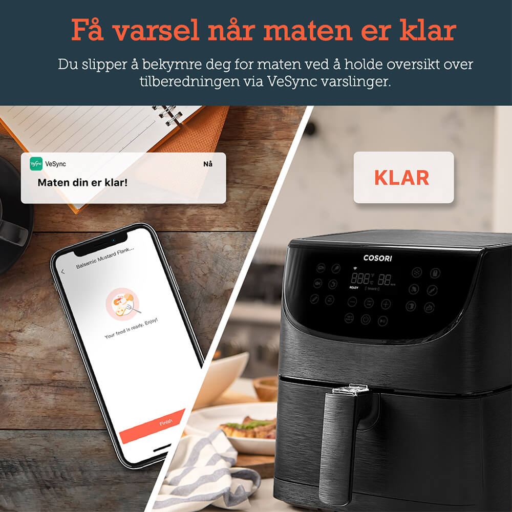 Cosori Smart airfryer varslinger